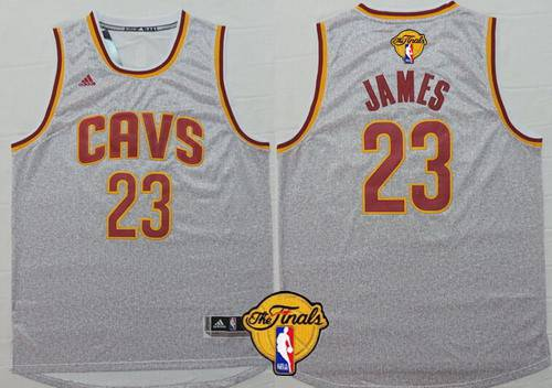 Men Cleveland Cavaliers 23 LeBron James 2016 The NBA Finals Patch Gray Jersey