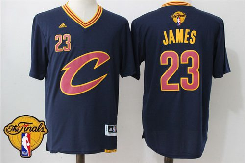 Men Cleveland Cavaliers LeBron James 23 2016 The NBA Finals Patch New Navy  Blue Short-Sleeved Jersey 141ff520e