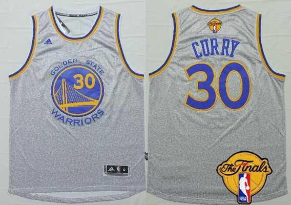 Men Golden State Warriors 30 Stephen Curry Gray 2016 The NBA Finals Patch Jersey