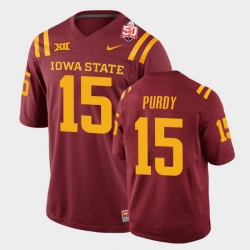 Men Iowa State Cyclones #15 Brock Purdy 2021 Fiesta Bowl Cardinal College Football Jersey