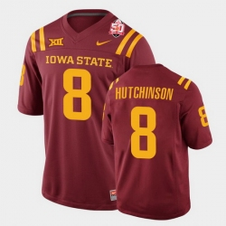 Men Iowa State Cyclones #8 Xavier Hutchinson 2021 Fiesta Bowl Cardinal College Football Jersey