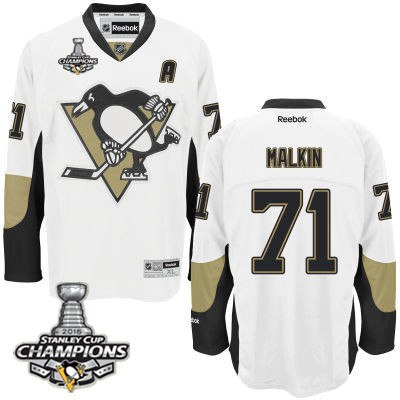 Men Pittsburgh Penguins 71 Evgeni Malkin White Road A Patch Jersey 2016 Stanley Cup Champions Patch