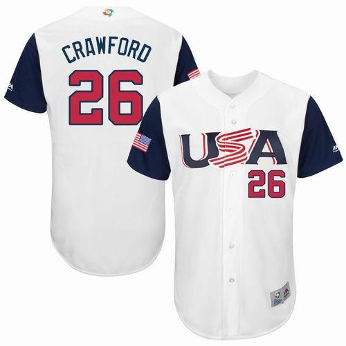 Men USA Baseball 26 Crawford White 2017 World Baseball Classic Authentic Jersey