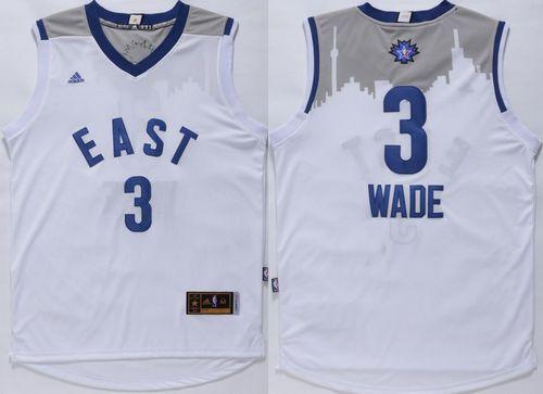 Miami Heat 3 Dwyane Wade White 2016 All Star NBA Jersey