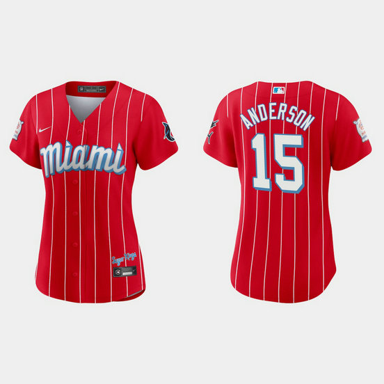 Miami Marlins #15 Brian Anderson Women's Nike 2021 City Connect Authentic MLB Jersey Red