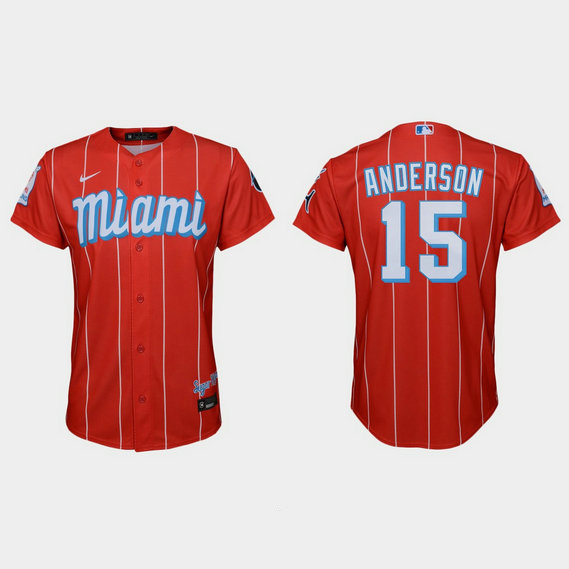 Miami Marlins #15 Brian Anderson Youth Nike 2021 City Connect Authentic MLB Jersey Red