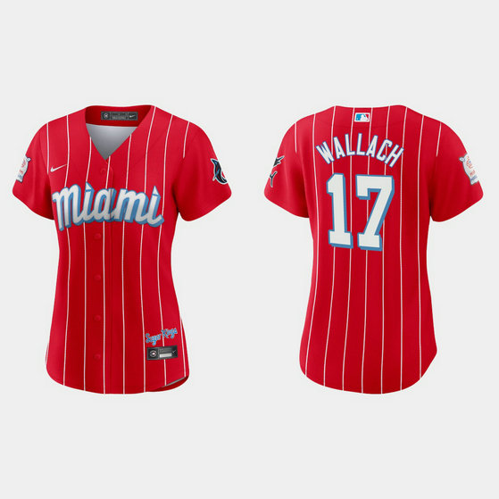Miami Marlins #17 Chad Wallach Women's Nike 2021 City Connect Authentic MLB Jersey Red