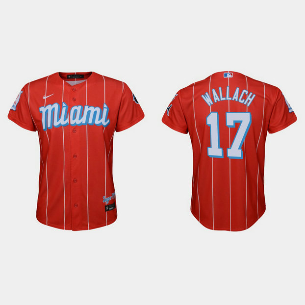 Miami Marlins #17 Chad Wallach Youth Nike 2021 City Connect Authentic MLB Jersey Red