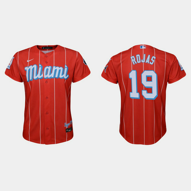 Miami Marlins #19 Miguel Rojas Youth Nike 2021 City Connect Authentic MLB Jersey Red