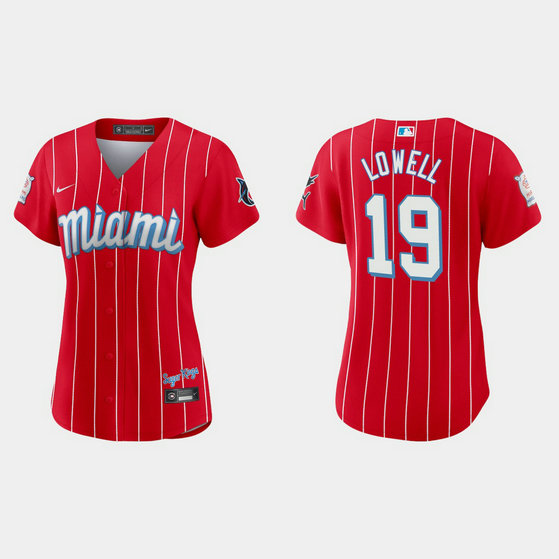 Miami Marlins #19 Mike Lowell Women's Nike 2021 City Connect Authentic MLB Jersey Red