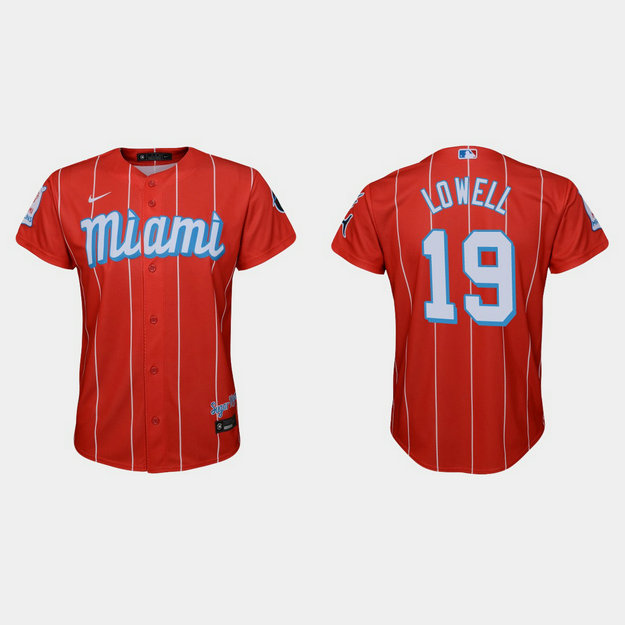 Miami Marlins #19 Mike Lowell Youth Nike 2021 City Connect Authentic MLB Jersey Red