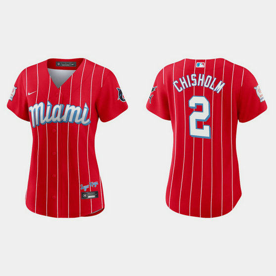 Miami Marlins #2 Jazz Chisholm Women's Nike 2021 City Connect Authentic MLB Jersey Red