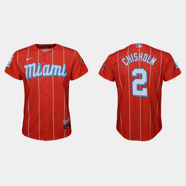Miami Marlins #2 Jazz Chisholm Youth Nike 2021 City Connect Authentic MLB Jersey Red