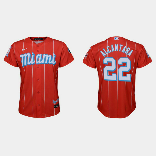 Miami Marlins #22 Sandy Alcantara Youth Nike 2021 City Connect Authentic MLB Jersey Red