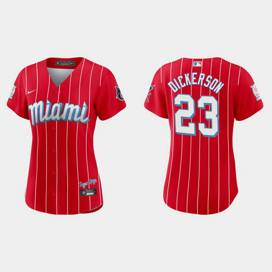 Miami Marlins #23 Corey Dickerson Women's Nike 2021 City Connect Authentic MLB Jersey Red