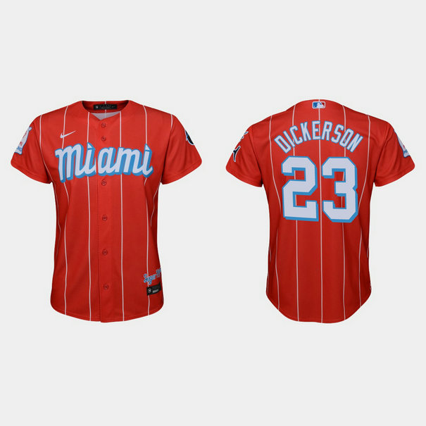 Miami Marlins #23 Corey Dickerson Youth Nike 2021 City Connect Authentic MLB Jersey Red