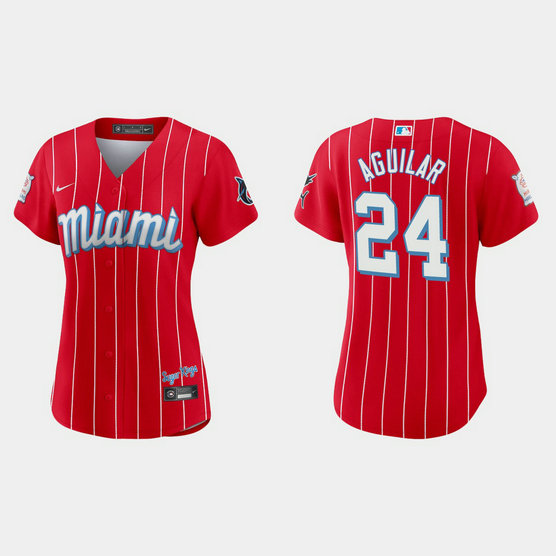Miami Marlins #24 Jesus Aguilar Women's Nike 2021 City Connect Authentic MLB Jersey Red