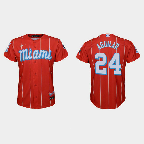 Miami Marlins #24 Jesus Aguilar Youth Nike 2021 City Connect Authentic MLB Jersey Red