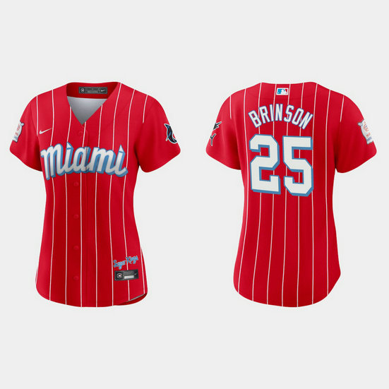 Miami Marlins #25 Lewis Brinson Women's Nike 2021 City Connect Authentic MLB Jersey Red