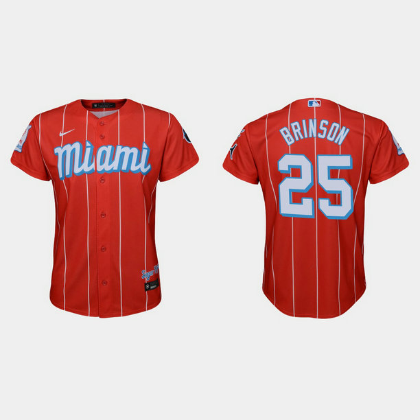 Miami Marlins #25 Lewis Brinson Youth Nike 2021 City Connect Authentic MLB Jersey Red