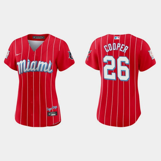 Miami Marlins #26 Garrett Cooper Women's Nike 2021 City Connect Authentic MLB Jersey Red