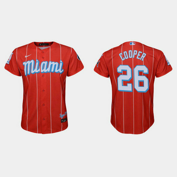 Miami Marlins #26 Garrett Cooper Youth Nike 2021 City Connect Authentic MLB Jersey Red