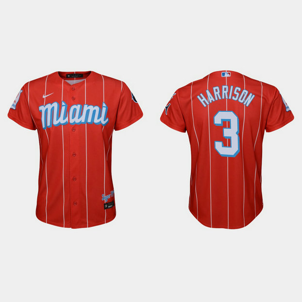 Miami Marlins #3 Monte Harrison Youth Nike 2021 City Connect Authentic MLB Jersey Red