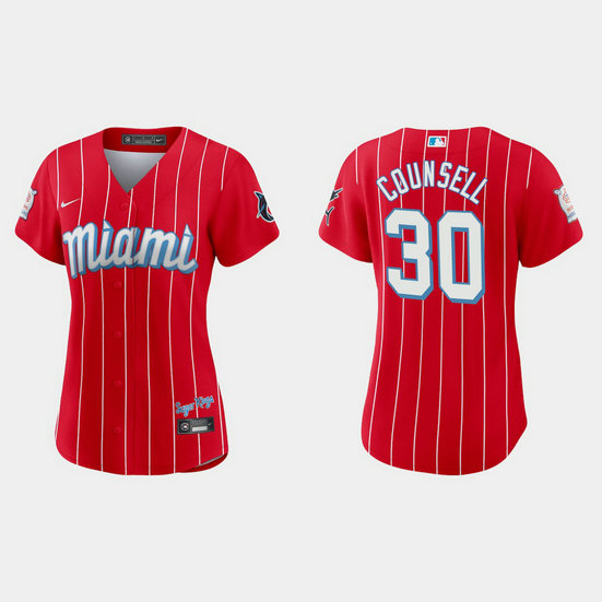 Miami Marlins #30 Craig Counsell Women's Nike 2021 City Connect Authentic MLB Jersey Red