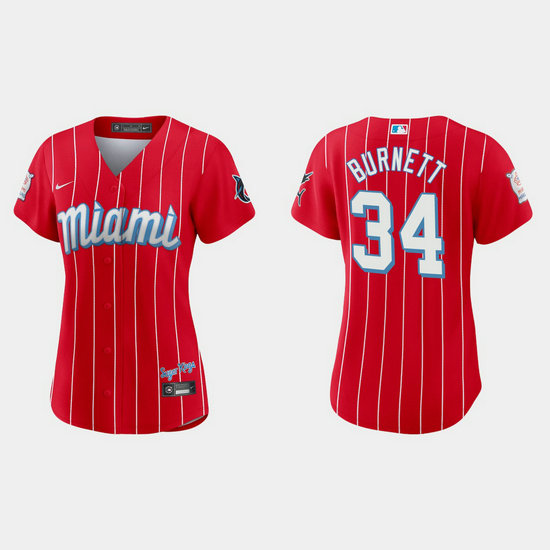 Miami Marlins #34 A.J. Burnett Women's Nike 2021 City Connect Authentic MLB Jersey Red