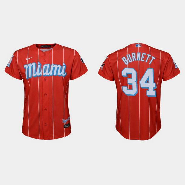 Miami Marlins #34 A.J. Burnett Youth Nike 2021 City Connect Authentic MLB Jersey Red