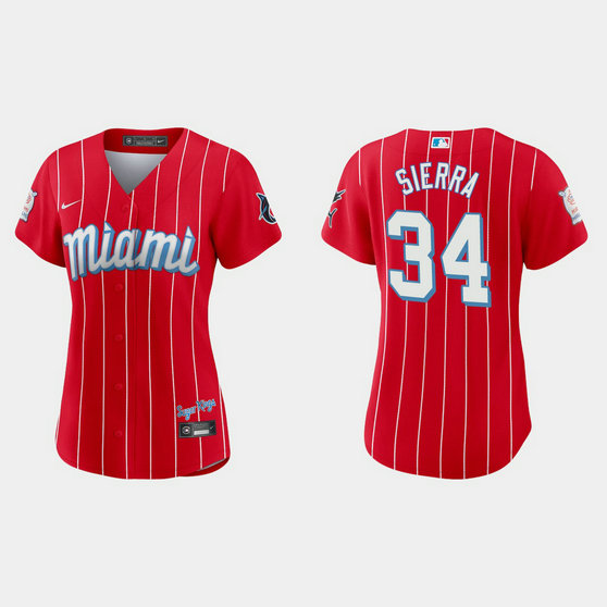 Miami Marlins #34 Magneuris Sierra Women's Nike 2021 City Connect Authentic MLB Jersey Red
