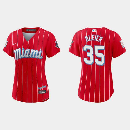 Miami Marlins #35 Richard Bleier Women's Nike 2021 City Connect Authentic MLB Jersey Red