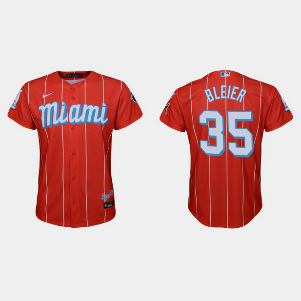 Miami Marlins #35 Richard Bleier Youth Nike 2021 City Connect Authentic MLB Jersey Red