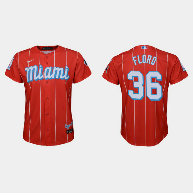 Miami Marlins #36 Dylan Floro Youth Nike 2021 City Connect Authentic MLB Jersey Red