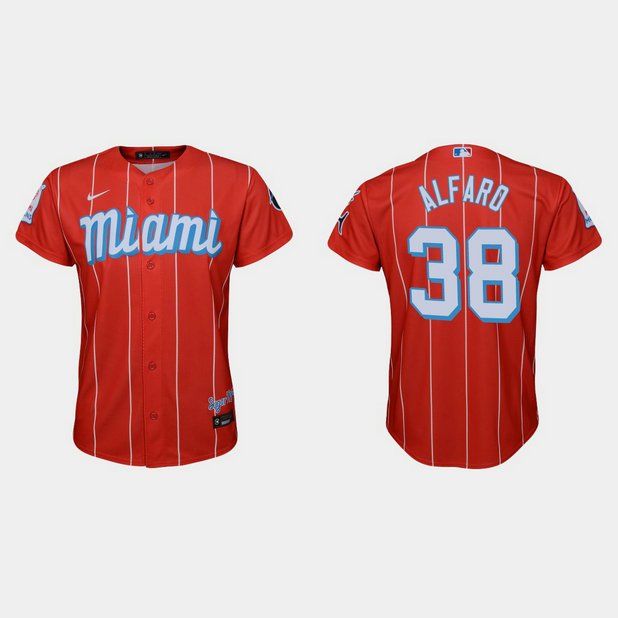 Miami Marlins #38 Jorge Alfaro Youth Nike 2021 City Connect Authentic MLB Jersey Red