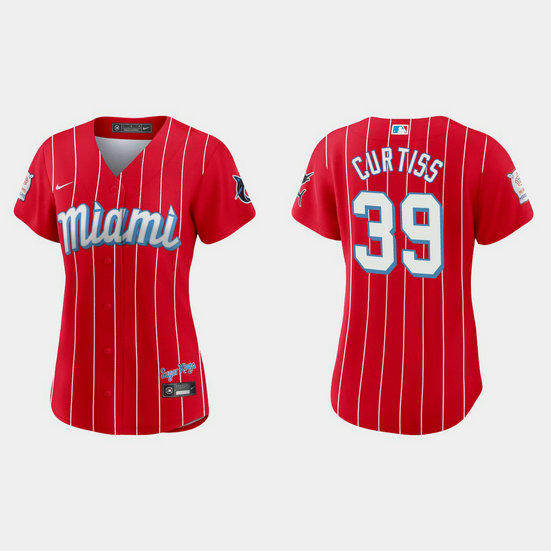 Miami Marlins #39 John Curtiss Women's Nike 2021 City Connect Authentic MLB Jersey Red