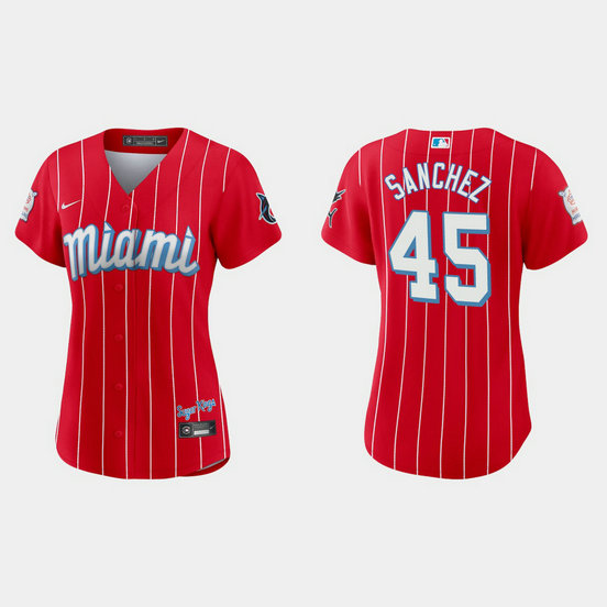 Miami Marlins #45 Sixto Sanchez Women's Nike 2021 City Connect Authentic MLB Jersey Red