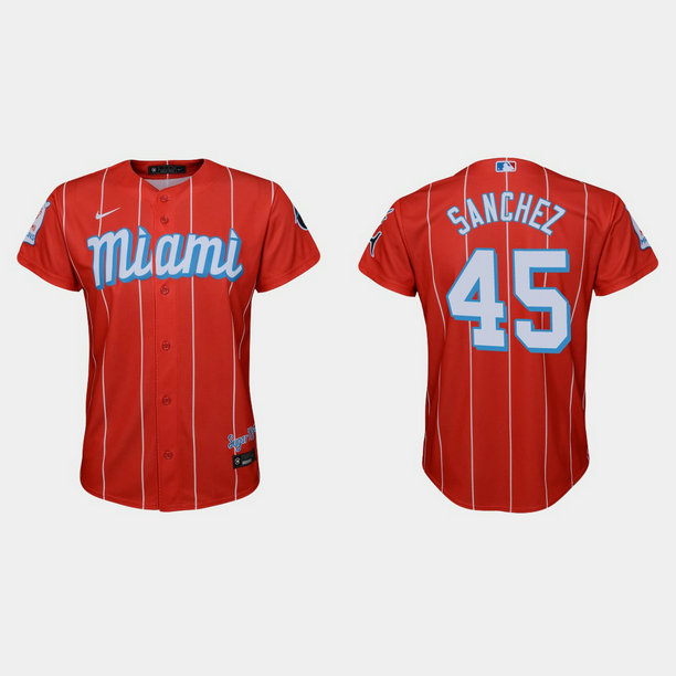 Miami Marlins #45 Sixto Sanchez Youth Nike 2021 City Connect Authentic MLB Jersey Red