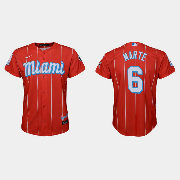Miami Marlins #6 Starling Marte Youth Nike 2021 City Connect Authentic MLB Jersey Red