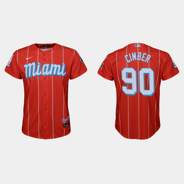 Miami Marlins #90 Adam Cimber Youth Nike 2021 City Connect Authentic MLB Jersey Red