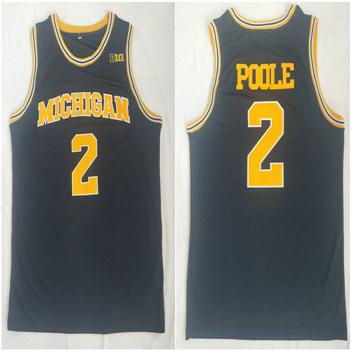 Michigan Wolverines 2 Jordan Poole Navy College Football Jersey