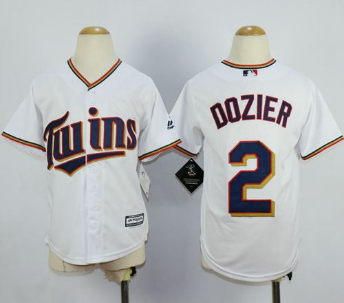 Minesota Twins 2 Brian Dozier White Cool Base Kid MLB Jersey
