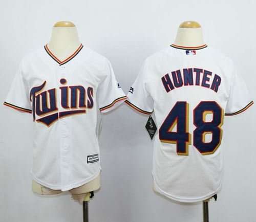 Minesota Twins 48 Torii Hunter White Cool Base Kid MLB Jersey