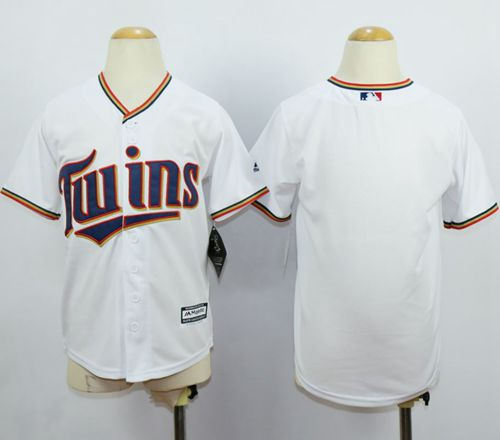 Minesota Twins Blank White Cool Base Kid MLB Jersey