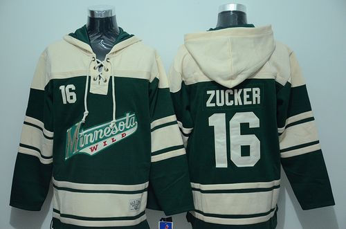 Minnesota Wild 16 Jason Zucker Green Sawyer Hooded Sweatshirt NHL Jersey