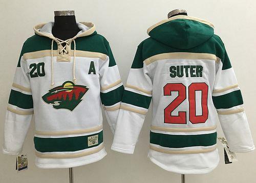 Minnesota Wild 20 Ryan Suter White Sawyer Hooded Sweatshirt NHL Jersey