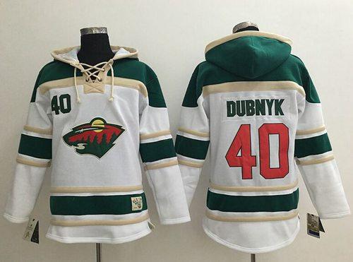 Minnesota Wild 40 Devan Dubnyk White Sawyer Hooded Sweatshirt NHL Jersey
