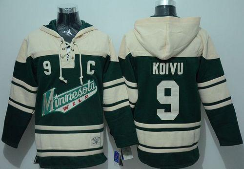 Minnesota Wild 9 Mikko Koivu Green Sawyer Hooded Sweatshirt NHL Jersey