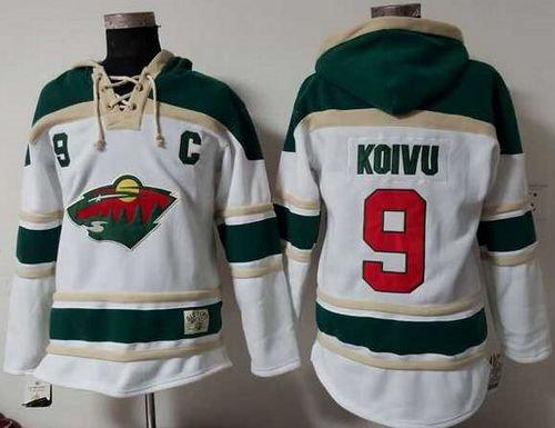 Minnesota Wild 9 Mikko Koivu White Sawyer Hooded Sweatshirt NHL Jersey
