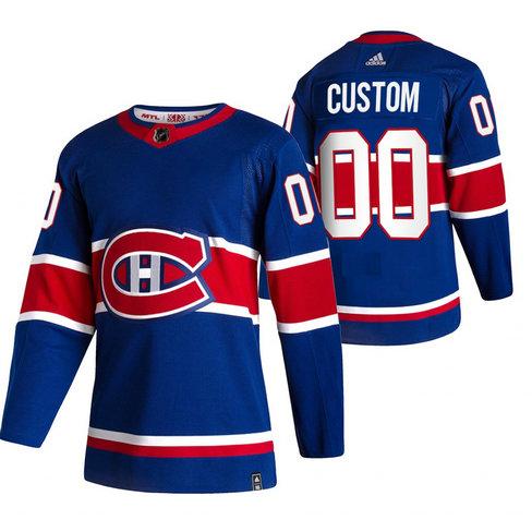 Montreal Canadiens Custom Blue Men's Adidas 2020-21 Reverse Retro Alternate NHL Jersey